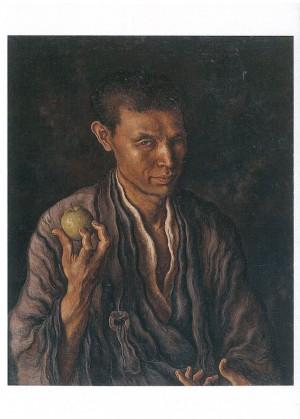 (11)高島野十郎「りんごを手にした自画像」