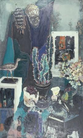 大内田茂士「仮面と卓上」1986年、油彩・画布