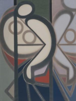 上田宇三郎「鏡の前の裸婦」1953年