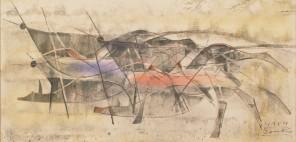 井上三綱「駆ける」1955年、水彩(混合技法)・紙、福岡県立美術館蔵