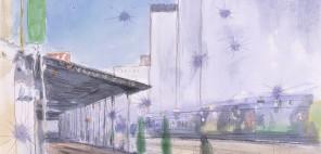 松本英一郎「町の空白」1995年、紙・水彩