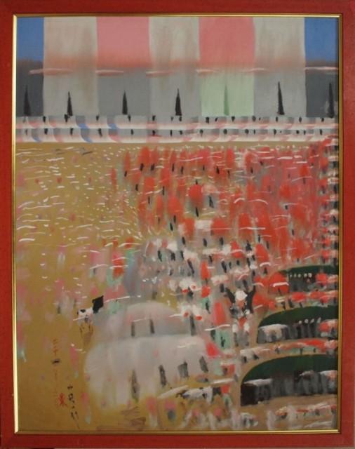 絶筆「花と雲と牛」2001年、油彩・画布