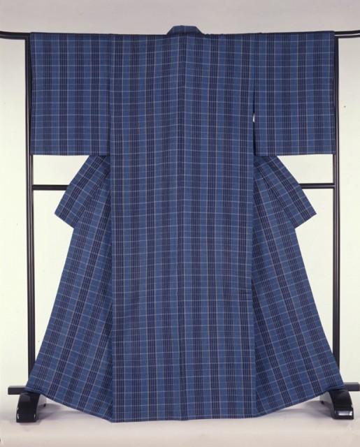 木綿地風通織着物「月待ちの浜」1987年