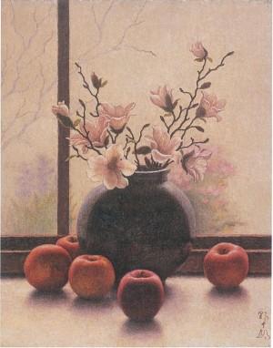 (4)高島野十郎「こぶしとリンゴ」