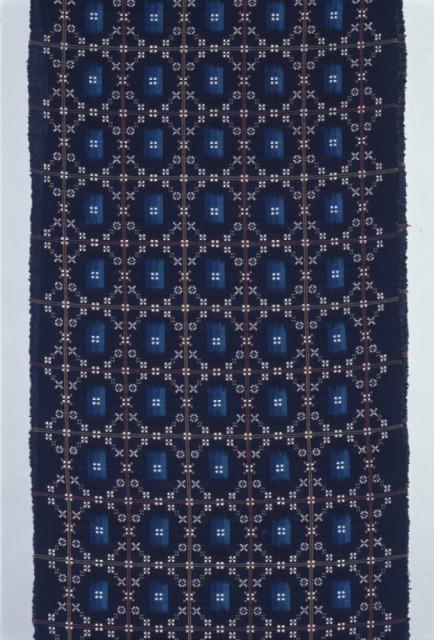 鳥巣水子 藍絣花織帯地「ステンドグラス」1981年、当館蔵