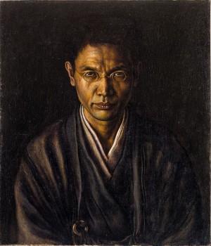 髙島野十郎「絡子をかけたる自画像」