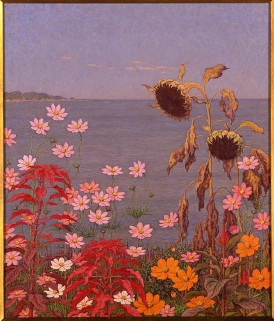 高島野十郎「海辺の秋花」1953年頃