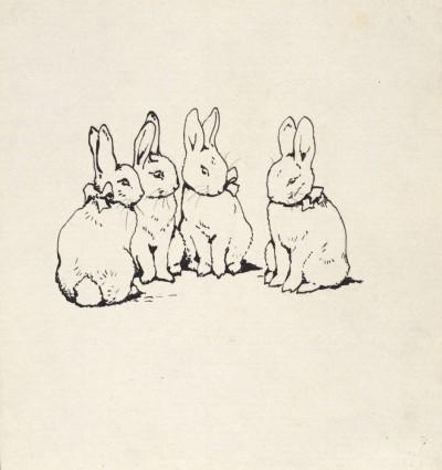 ビアトリクス・ポター 《私家版『ピーターラビットのおはなし』の表紙絵のためのインク画》 英国ナショナル・トラスト所蔵