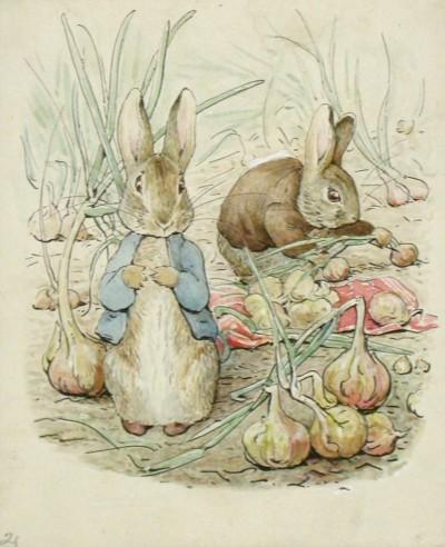 ビアトリクス・ポター 《『ベンジャミン バニーのおはなし』の挿絵のための水彩画》 英国ナショナル・トラスト所蔵