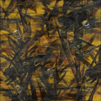 佐藤 妙 《蟲獣戯画Ⅱ》 第72回福岡県美術展覧会 洋画部門 県知事賞