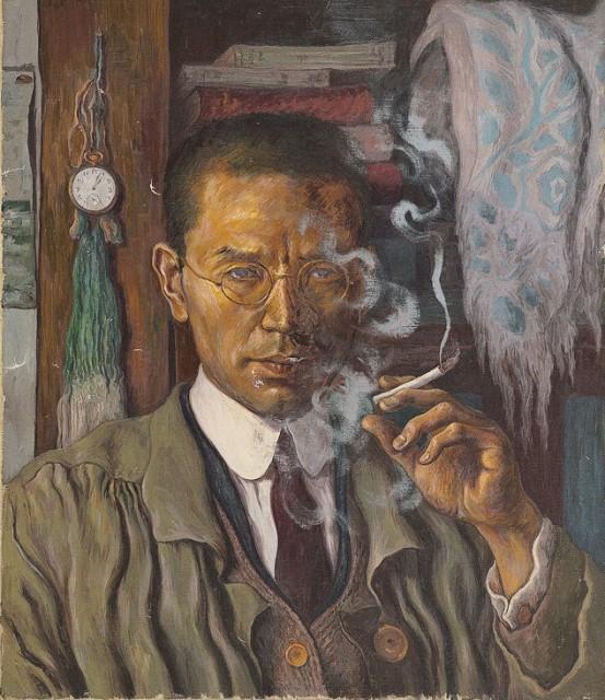 196「煙草を手にした自画像」福岡県立美術館蔵
