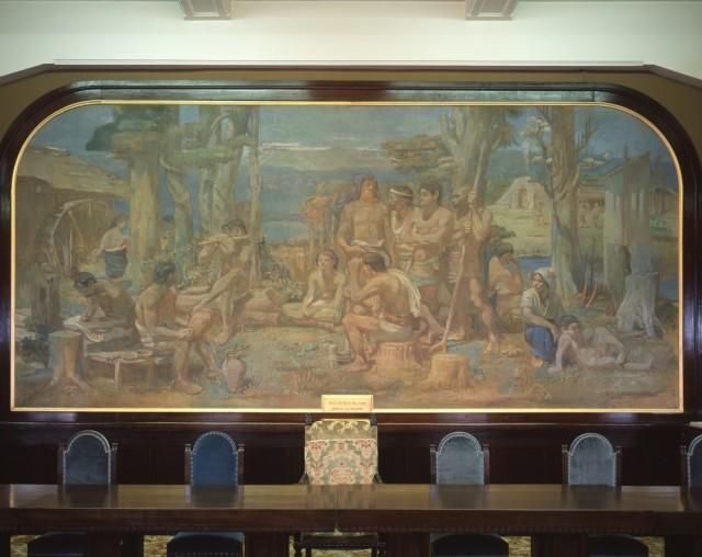 青山熊治「九州大学工学部壁画」(旧工学部本館4階会議室)