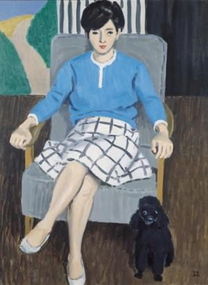 中村琢二「小犬と女」1968年、当館蔵