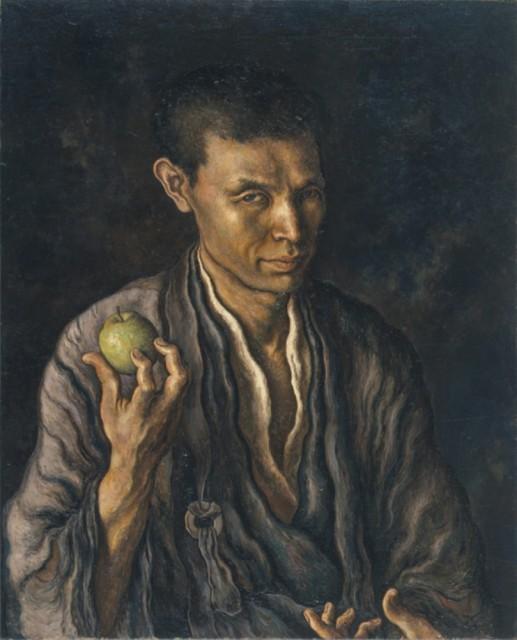 りんごを手にした自画像