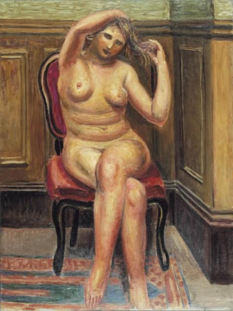 児島善三郎「梳る女」1926年