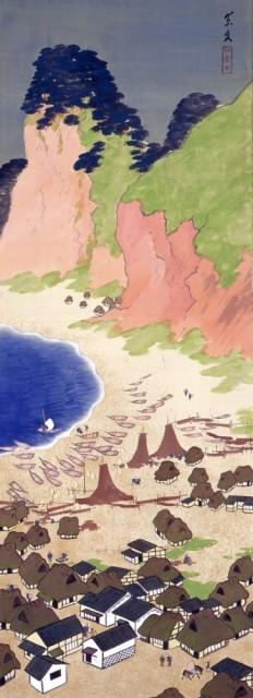 今中素友「姪の浜の真景」1916、絹本着色