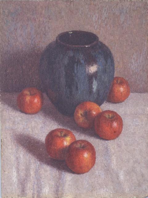 髙島野十郎「壷とリンゴ」