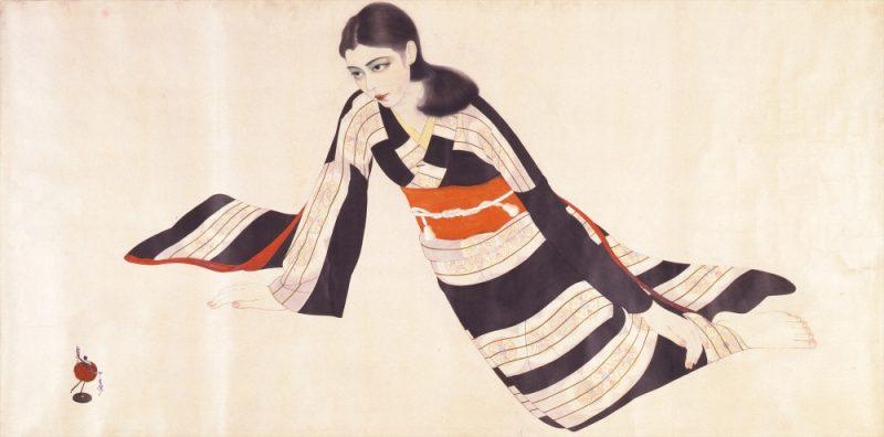 上田宇三郎「振袖の女性」昭和10年(1935)、当館蔵