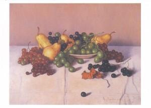 (10)高島野十郎「洋梨とブドウ」