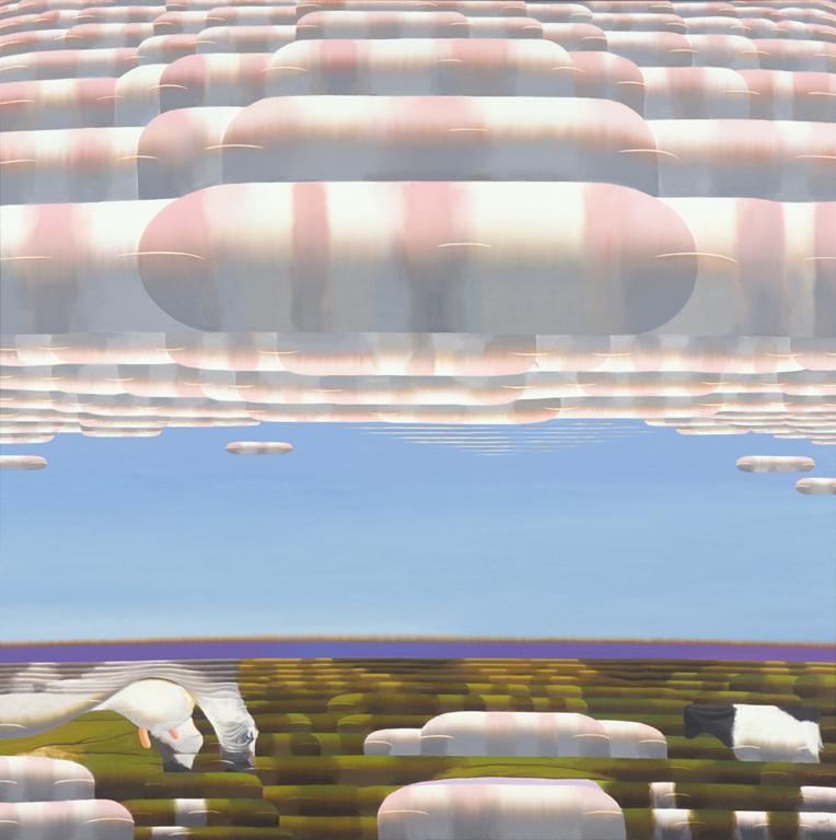 「さくら・うし」1990年、油彩・画布