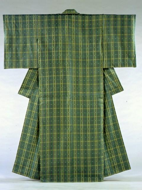 木綿地風通織着物「菜の花畑」2001年