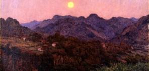 高島野十郎「山の夕月」1532年、福岡県立美術館蔵