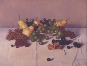 髙島野十郎「洋梨とブドウ」