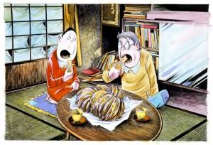 バナナを食べる水木夫妻  1989年