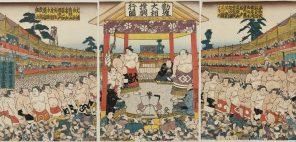 歌川国貞 錦絵「勧進大相撲興行図」天保15年頃、公益財団法人日本相撲協会相撲博物館蔵