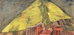 野見山暁治「ベルギーのボタ山」1955年、インク、グワッシュ・紙、当館蔵