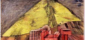野見山暁治《ベルギーのボタ山》1995、インク、グワッシュ・紙、当館蔵