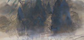 冨田溪仙「かひこの森」大正10年(1921) 絹本着色 59.8×68.9cm
