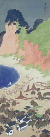今中素友「姪の浜の真景」大正5年(1916) 絹本着色 134.0×49.3cm